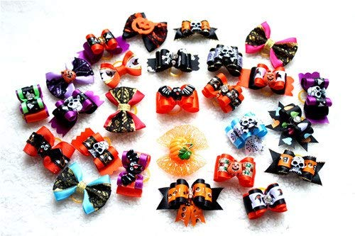 HAVIPRO 40 pcs/lot Halloween Design Dog Pet Hair Bows Pet Bows for Holidays Dogs Cat Pet Festival Grooming Charms -