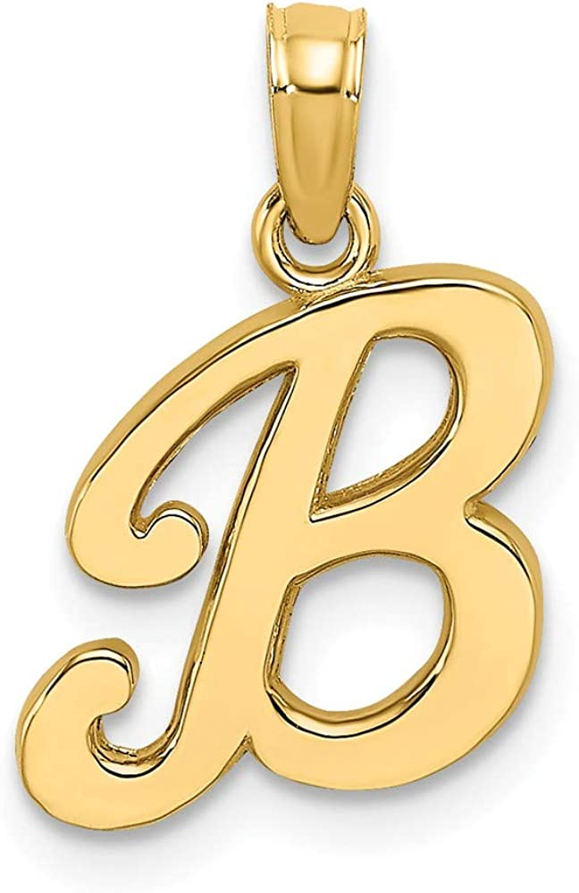 Jewels By Lux 14K Yellow Gold A Script Initial//High Polish