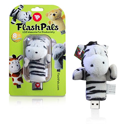 Cute, Plush Flash Drive Keychain by FlashPals | Lovable Zebra Design + Light-Up Heart + 8GB USB Pen Drive | Useful Gift for Kids and Animal Lovers (Zebra Chain)