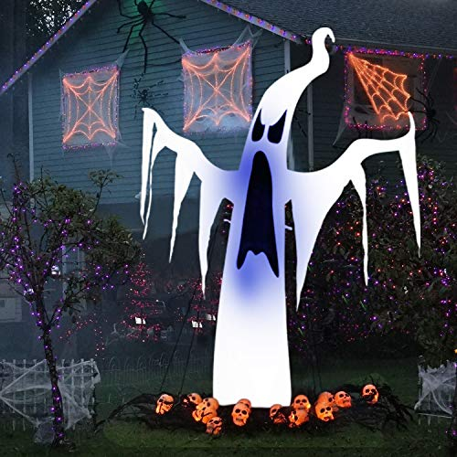 INTEY Inflatable Halloween Decoration 7 FT Tall Scary Blow up Halloween Inflatable Ghost with LED Ideas for Indoor Outdoor Party Yard -