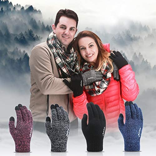 Achiou Winter Knit Gloves Touchscreen Warm Thermal Soft Lining Elastic Cuff Texting AntiSlip 3 Size