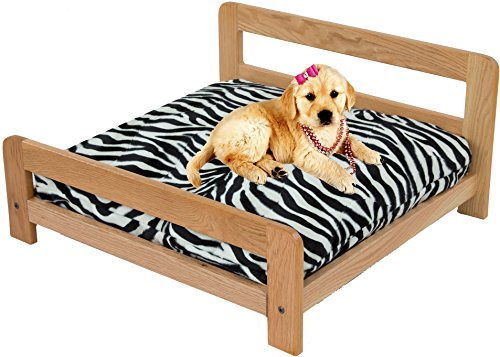 Small Oak Pet Bed Platform and Mattress with Removable Zebra Cover - Oak Sleeper Futon Frame