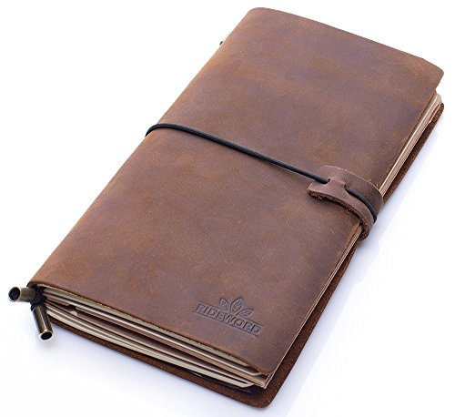 REFILLABLE LEATHER JOURNAL REFILLABLE TRAVELERS NOTEBOOK For Writers, Artists & Travelers - With Zippered PVC Pounch & Card Holder-Ideal Gift Box For Men&Women by Rideword