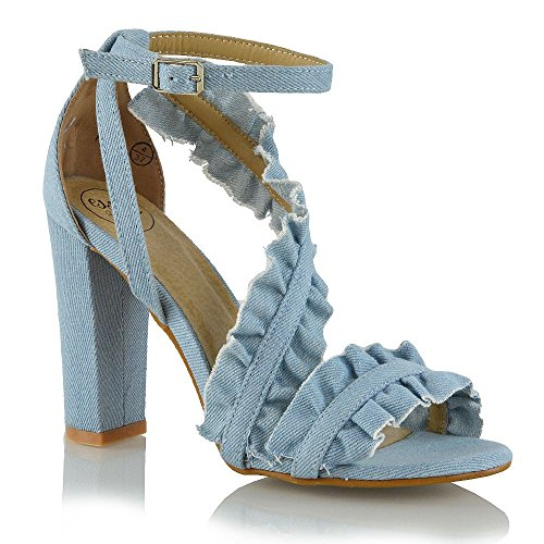 ESSEX GLAM Womens Ankle Strap Ruffle Block High Heel Frill Sandals Ladies Party Shoes Size 3-8 Denim