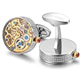 Dich Creat Men's rhodium Stainless Steel Inlay Jewels Wind-up New/Working Movement Cufflinks Covered With Glass
