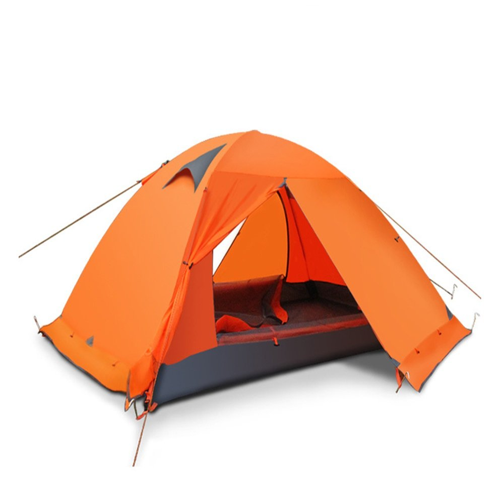 YuFLangel Zelt im Freien Zelt Double Double Aluminium Pole Zelt Orange Beach Tent