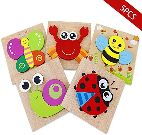 Wooden Animal Jigsaw Puzzles, Early Educational Toys Gift ...