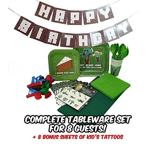 Deluxe Tableware Set for Mining Themed Parties with HAPPY BIRTHDAY BANNER! (Service for 8) - Party Supplies - Plates, Cups, Forks, Spoons, Napkins, Balloons, Table Cloth, & 8 BONUS Kid's Tattoo Packs!