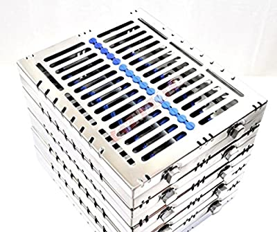 """5 German Dental Autoclave Sterilization Cassette Tray For 15 Instruments 8.25x7.25x1.25"""" Blue ( Cynamed )"""