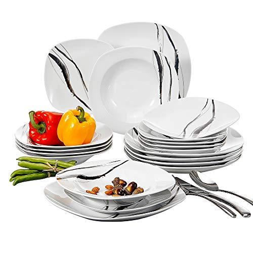 VEWEET 18-Piece Ceramic Dinner Plate Sets Line Patterns White Square Plate Sets with Dinner Plate, Soup Plate, Dessert Plate, Service for 6 (TERESA Series) (Square Plates Uk Dinner White)