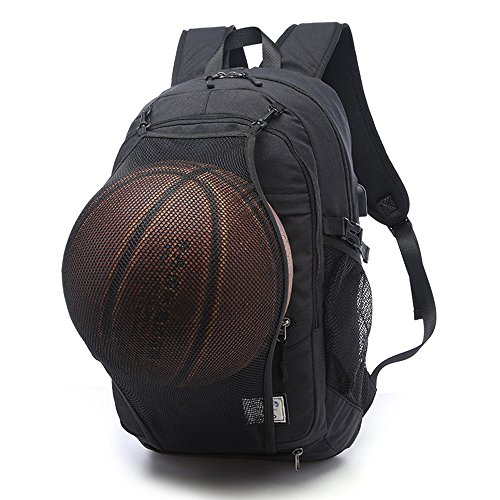Sports Bag with Basketball Net and USB Charging Port