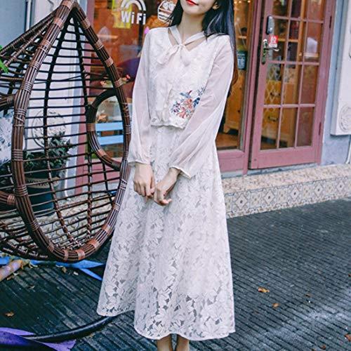 Falda Size Estudiante Blue Oficina Traje Vestido color Dos Encaje Busto Piezas Top White Ovesuxle De Ocio M pwqIS