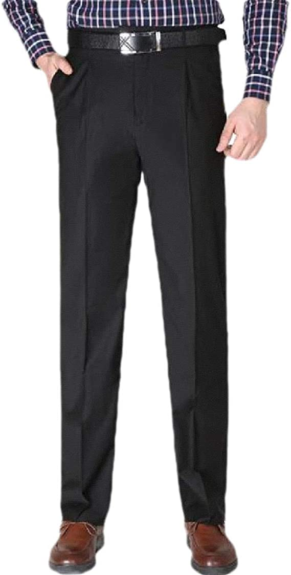 EnergyWD Mens Business Straight Leg Non-Iron Relaxed Plain-Front Dress Pant