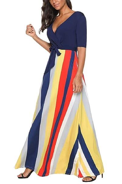 b611546940a ZXFHZS Women Half Sleeve Stripes Deep-V Neck Maxi Dress Party Fashion Long  Dress 1