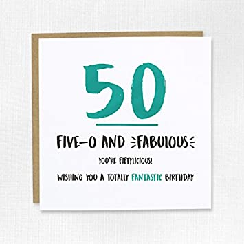 Happy 50th Birthday Card 50 Fifty Embossed Him Her Mum Dad