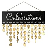 VORCOOL Celebrations Board Plaque DIY Hanging Wooden Birthday Reminder Calendar with Wooden Hearts Discs
