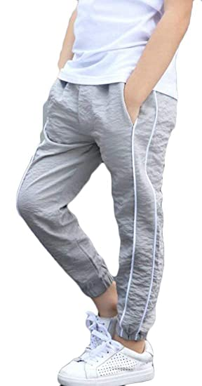 1a7468de8626 JWK Boy s Jogger Pants Cozy Summer Ankle Length Casual Elastic Wasit Pants  Gray 4