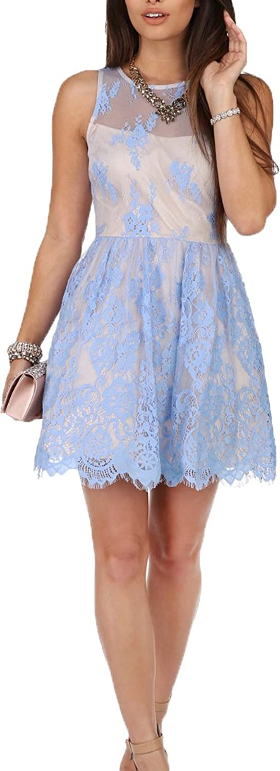 Okaybridal Women's Tank Sleeveless Made of Lace Knee Length Short Formal Dresses