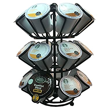 Universal K-cup 1.0 & 2.0 Coffee Pod Storage Spinning Carousel Holder (Black)