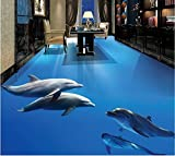 LHDLily 3D Wallpaper Mural Wall Sticker Thickening Custom Larges Flooring Marine Dolphins Flooring Waterproof Anti-Skid Home Self-Adhesive Floor Decoration Painting 300cmX200cm