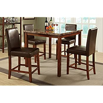 Amazon.com - Poundex Marble Dining Table, 4 Counter Height Chairs ...