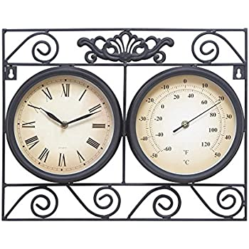 deco 79 metal outdoor clock thermometer 17 by 14inch