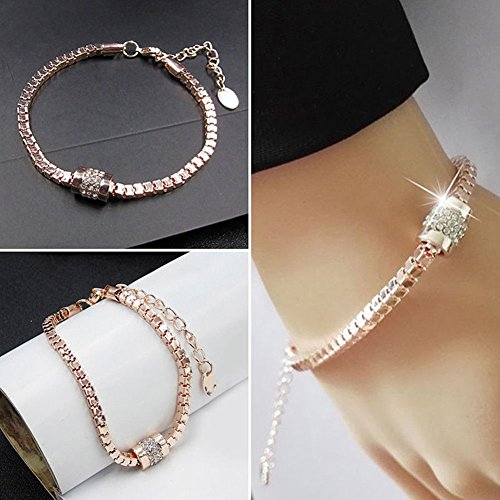 phitak shop New Women's Rhinestone Rose Gold Plated Crystal Bracelet Bangle Trendy - Bangles Jewelry Trendy