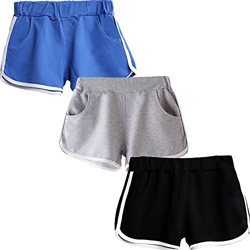 Beauty_yoyo Women Running Shorts Gym Workout Yoga Sport Performance Short (Pack of 3),Black+blue,Small (Shorts Female Gym)