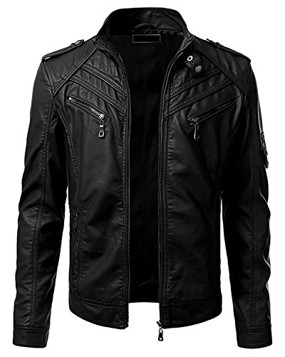 Smoke Synthetic Vintage Fit Leather Black Retro Mens Motorcycle Black Red Leather Jacket Jacket Biker New Slim qUTAqFd