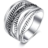 Shefashion Women's Vintage Oxidized Silver Crossover Statement Rings Wide Band Ring Size 8