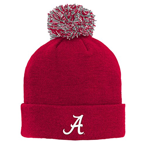 NCAA by Outerstuff NCAA Alabama Crimson Tide Kids Primary Basic Cuff Knit Hat w/ Pom, Victory Red, Kids One Size (Alabama Beanie Hat)