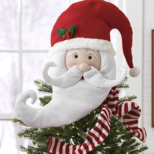 Raz Imports Santa Claus Head with Hat and Scarf Holiday Tree Topper 17''