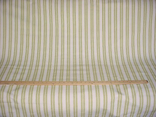 Marlatex Ticktock in Teatree - Heavy Citron Green Ticking / Mattress Cotton Stripe Designer Upholstery Drapery Fabric - By the ()