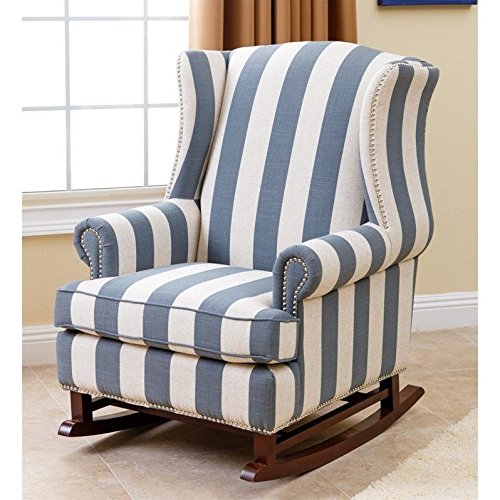 Abbyson Living Chelsie Fabric Rocking Chair in Blue and Ivory by Abbyson Living