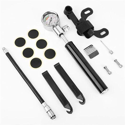 Conjunto bomba de bicicleta Bomba de bicicleta con manómetro, [No se necesita cambio de válvula] Mini