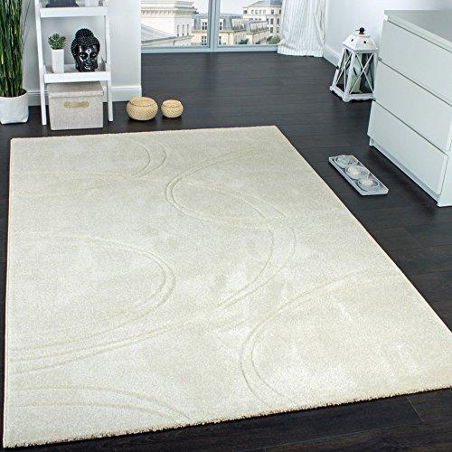 Teppich Einfarbig Designerteppich mit Handgearbeiteten Konturen Creme Elfenbein, Grösse:200x290 cm