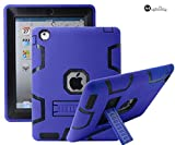ipad 3 retina display - iPad 2/3/4 Case - MagicSky Heavy Duty Shock-Absorption Rugged Hybrid Case Cover for iPad with Retina Display (iPad 4), iPad 3, iPad 2 - Black/Royal Blue