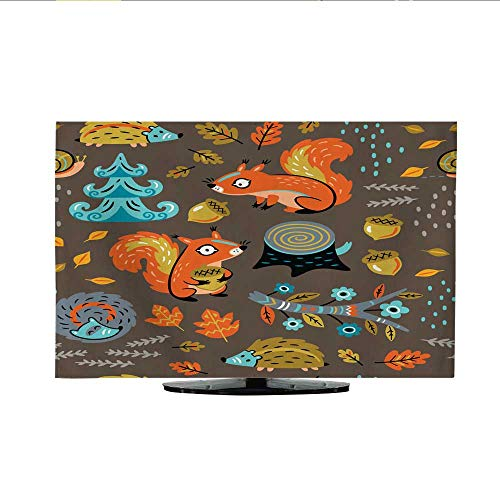 (Television Dustproof Cover Autumn Seamless Pattern with Squirrels Leaves Nuts and Crew)