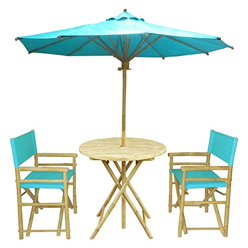 Remarkable Zew 4 Piece Bamboo Outdoor Patio Set Includes Round Table 2 Treated Canvas Chairs And 1 Umbrella Aqua Home Interior And Landscaping Staixmapetitesourisinfo