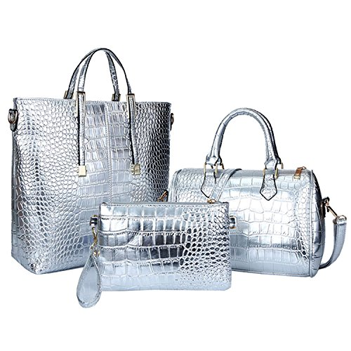 Women Handbag Fashion Silver Bag amp;A for Shoulder Satchel Set M Purse 3Pcs EzOqg