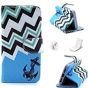 PEACH Blue Anchor Pattern PU Leather Case and Mini Display Stand with Diamond Dust Plug for iPhone 5/5S