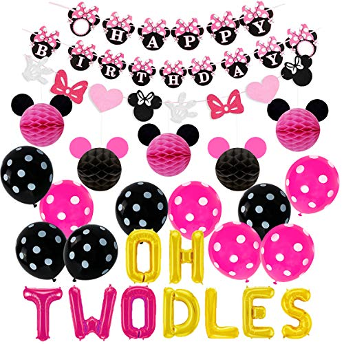 Oh Twodles Birthday (Minnie Themed Oh Twodles 2nd Birthday Party Supplies - Oh Twodles Balloons Minnie Garland Banner Honeycomb)