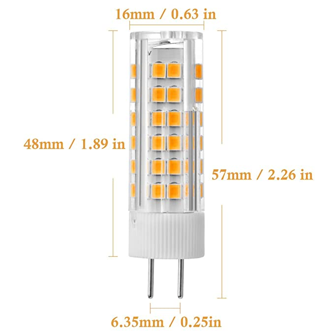 G6.35 LED Bulbs 6W 120V Voltage, 55W Halogen Bulbs Equal, Warm White 3000K Dimmable, for Under-Cabinet Accent Puck Light Desk Lamp Lighting (Pack of 5) ...