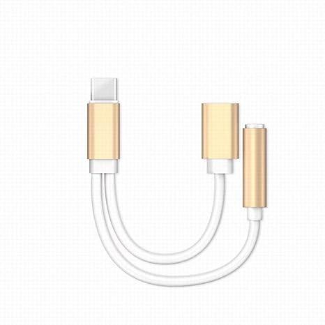 Fjiujin,USB Tipo-C Cable de Audio Cargador y música 2 en 1 ...