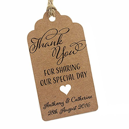Summer-Ray 50pcs Personalized Mini Royale Brown Kraft Wedding Favor Gift Tags Thank You for Sharing Our Special -
