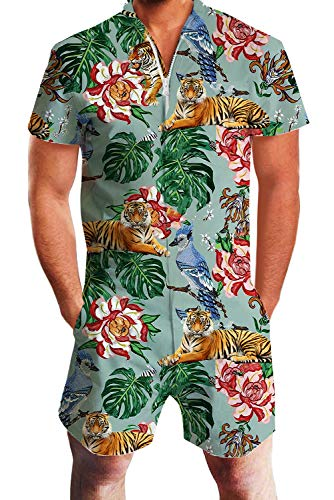 Uideazone Male Romper Floral Tiger Pattern Funny Zip up Jumpsuit Short Cargo Pants for Boyfriends Couples Party