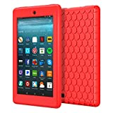 MoKo Case for All-New Amazon Fire 7 2017 (7' Tablet, 7th Generation, 2017 Release Only) - [Honey Comb Series] Light Weight Shock Proof Soft Silicone Back Cover [Kids Friendly] for Fire 7, RED