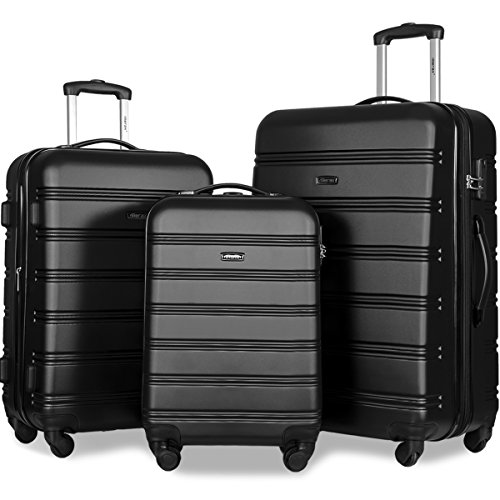 Black Suitcase - Merax Travelhouse Luggage Set 3 Piece Expandable Lightweight Spinner Suitcase (Black-1)
