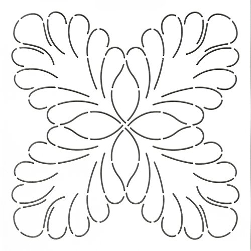 Stencil Quilt Block Feather (Quilting Creations Feather Four Corners Block Quilt Stencil, 9