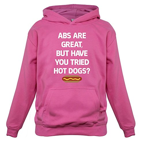 Child Hot Dog Hoodie (Abs Are Great, Hot Dogs - Kids Hoodie - Pink - L(7-8 YRS))
